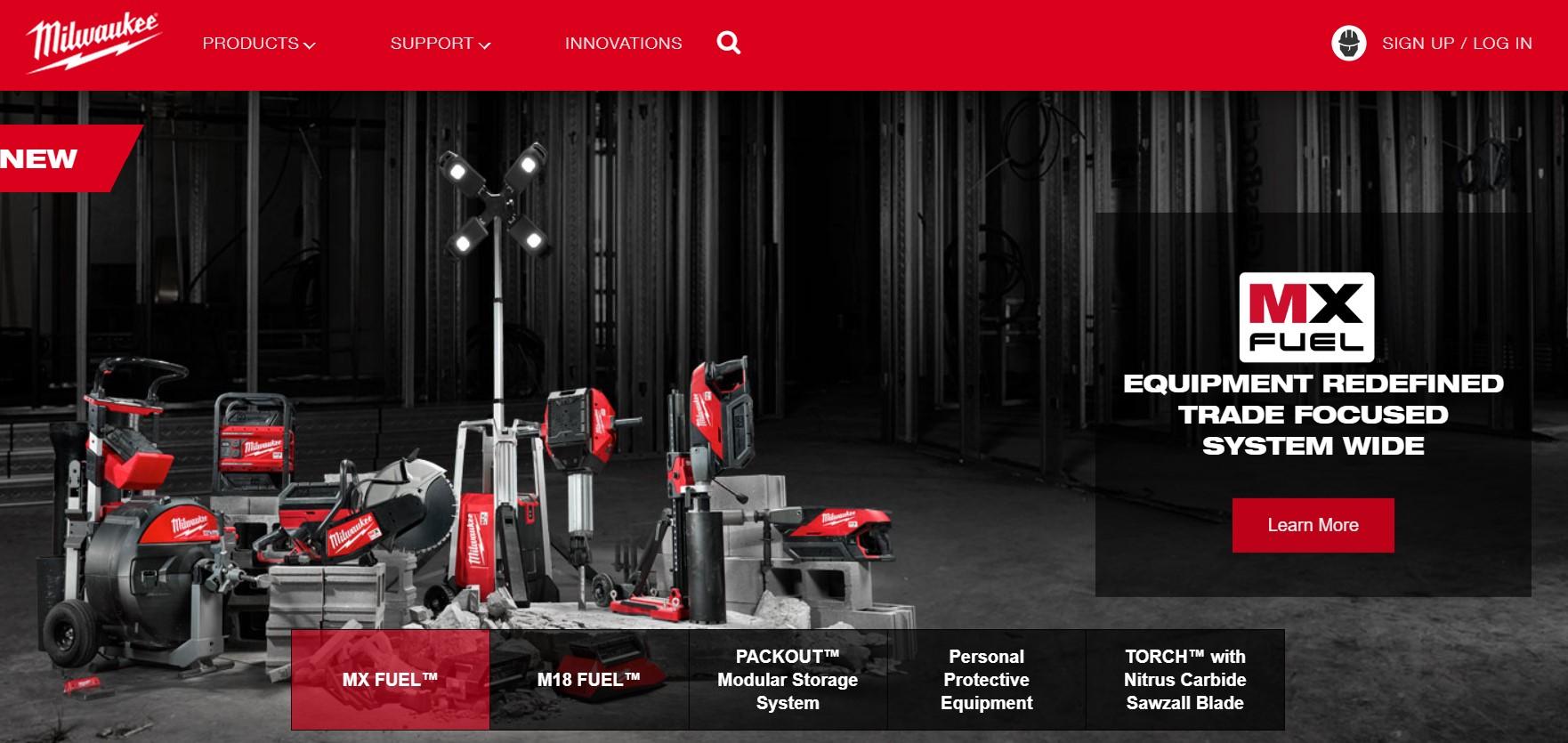 The Milwaukee Tools website