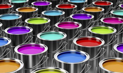 Many cans of paint