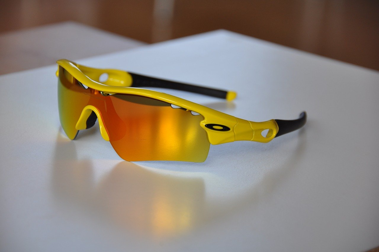A pair of Oakley sunglasses on a table