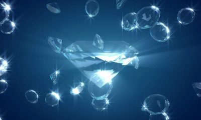 Mnay diamonds on a blue background