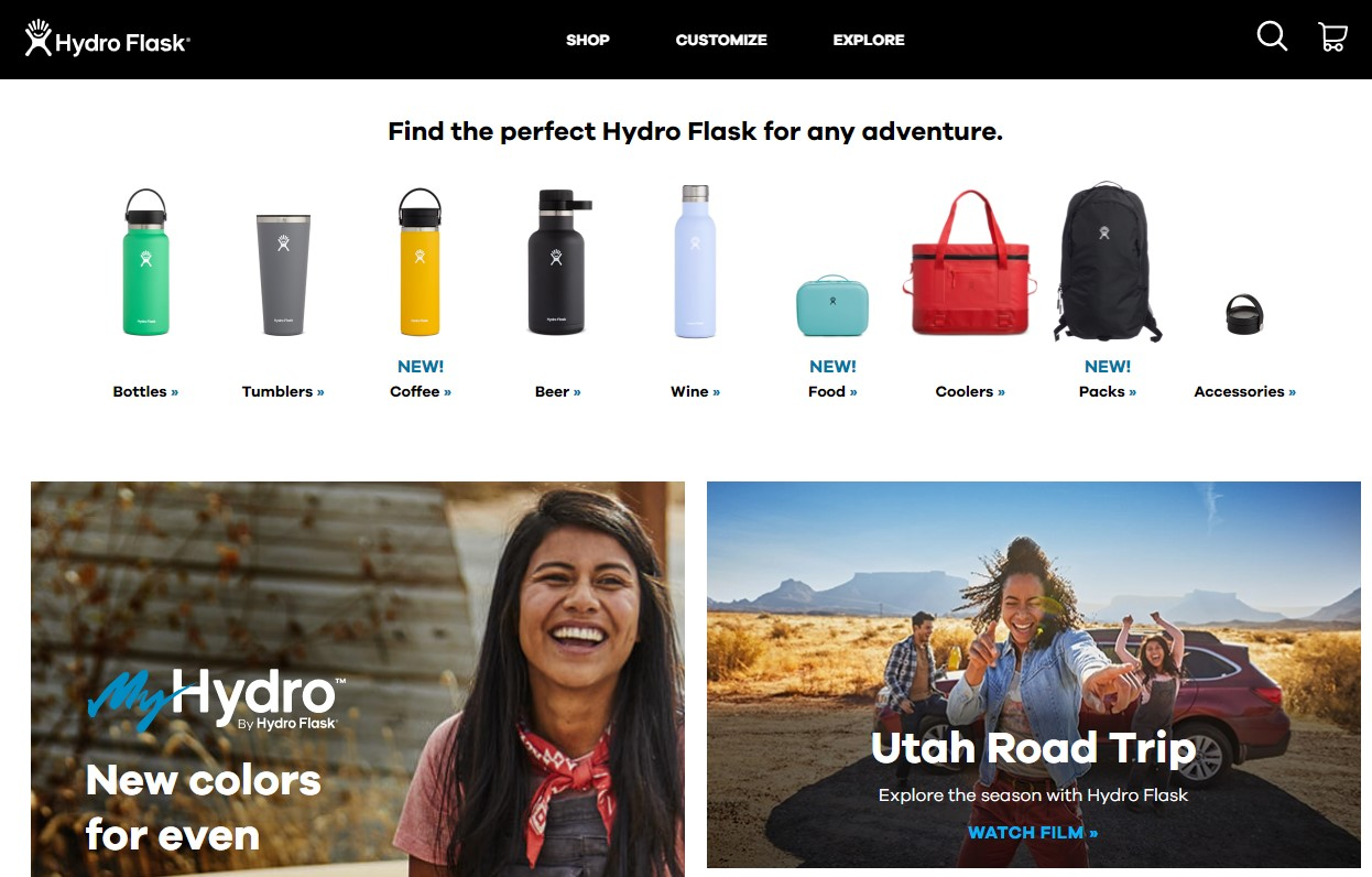 The Hydro Flask website