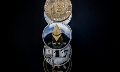 Crypto coins stacked on top of each other