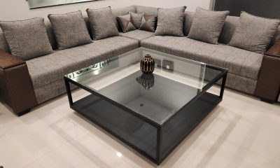 A large sofa and coffee table