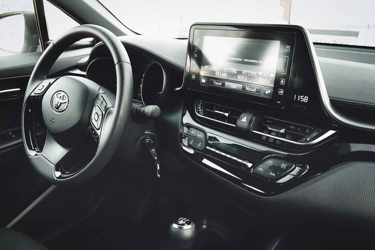 The inside of a car