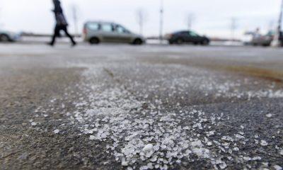 Salt on a road