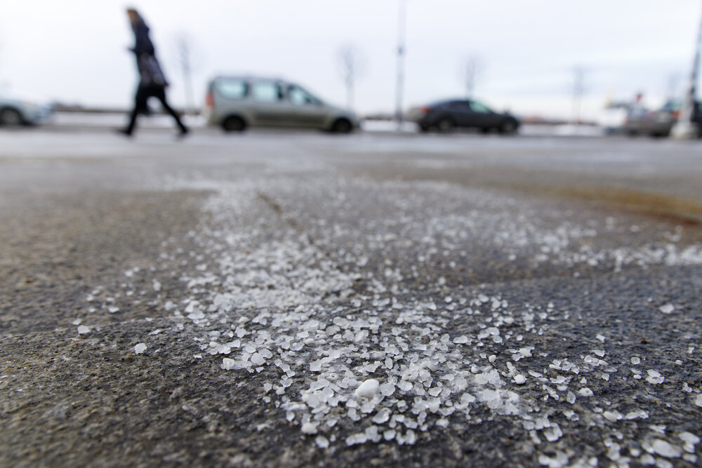 Salt on a road