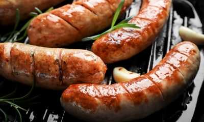 Sausages on a grill