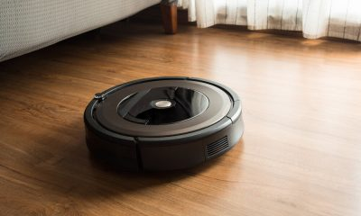 A robot vacuum cleaner on the floor